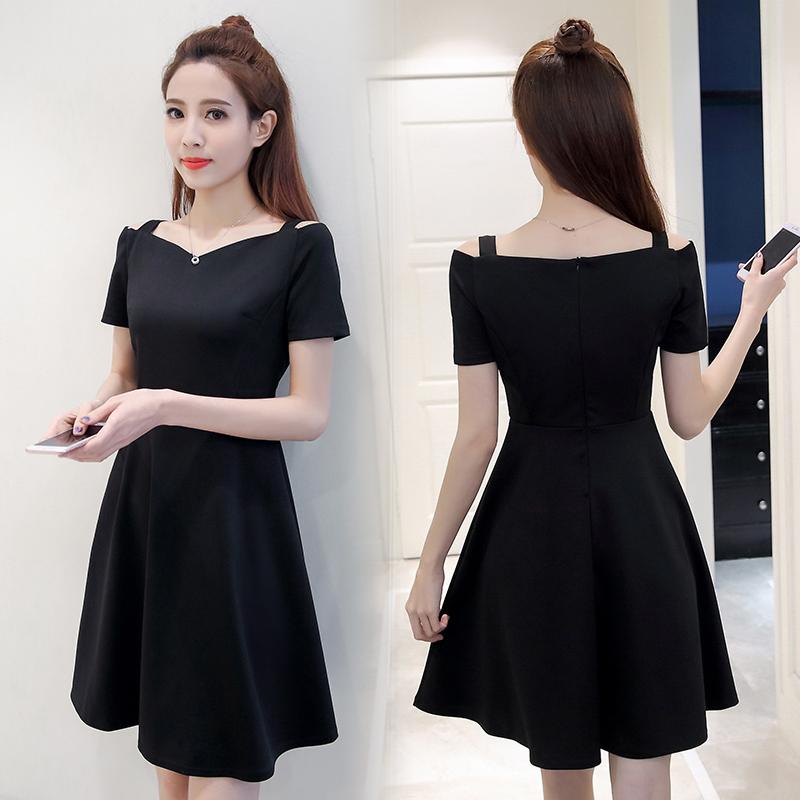 2018夏季新款女装短袖连衣裙 一字肩吊带赫本小黑裙修身显瘦a字裙