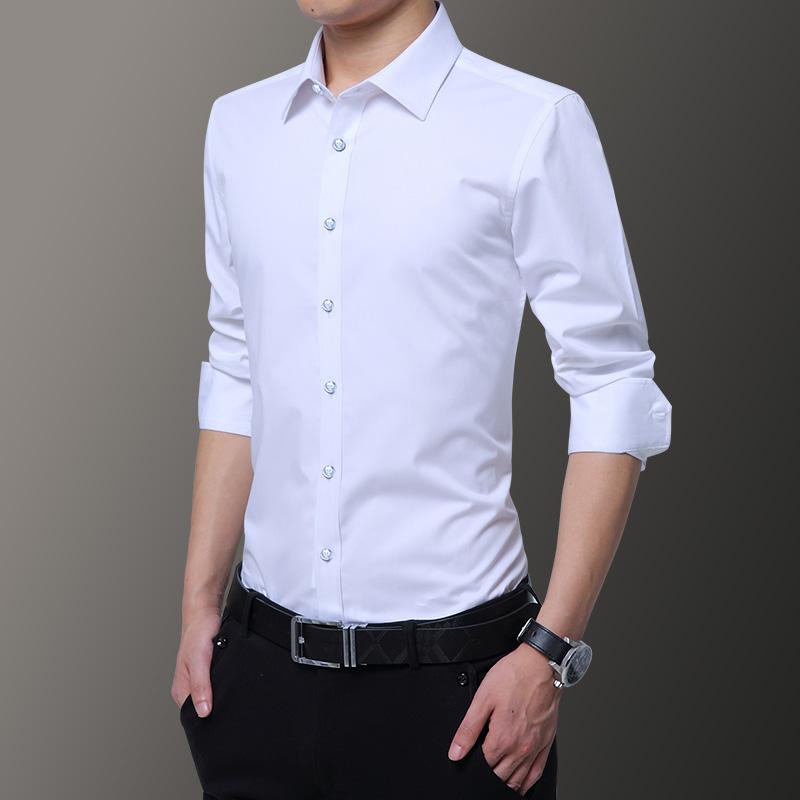 秋季长袖白衬衫男士正装商务休闲黑色韩版潮流工装衬衣寸衣服
