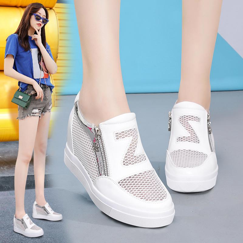 新款韩版百搭小白鞋女镂空单鞋透气网鞋女休闲运动鞋内增高女鞋夏