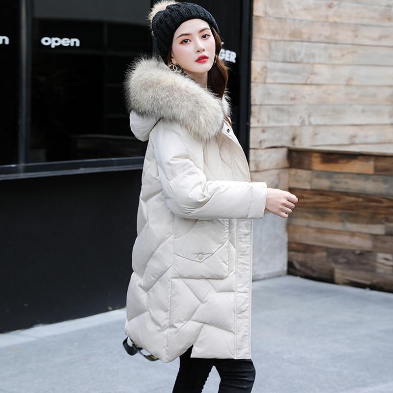 Down jacket womens new popular model in 2019 medium length thickened Korean fashion womens winter coat white duck down