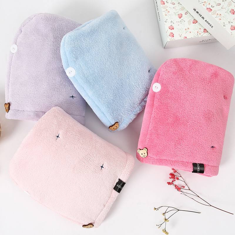 Double layer thickened water absorbent soft hair cap dry hair towel bath cap wipe hair towel pregnant women and children quick drying towel package mail