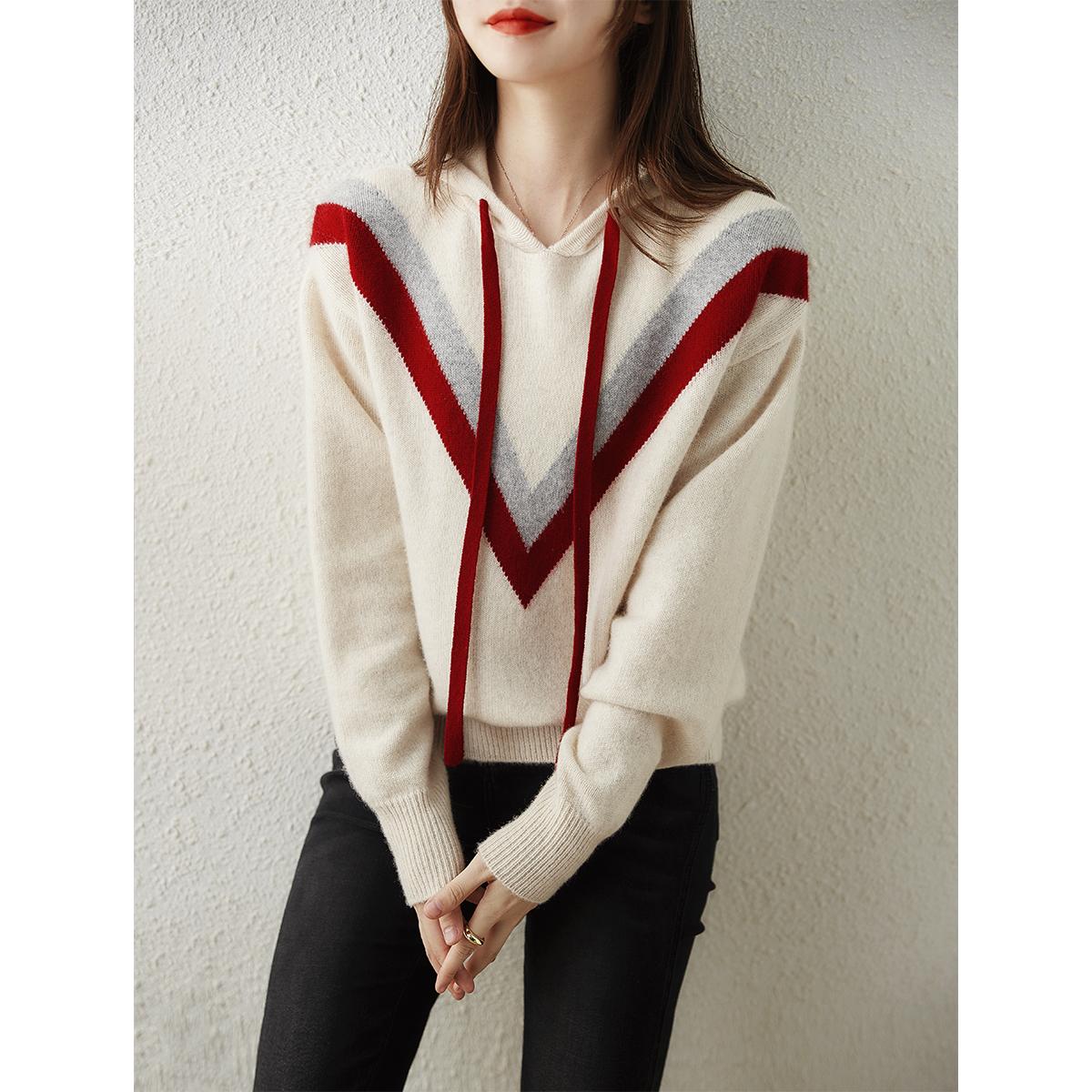 [ZY258435AG]笑涵閣穿不膩的肉感純羊絨V型幾何連帽針織衫衛衣