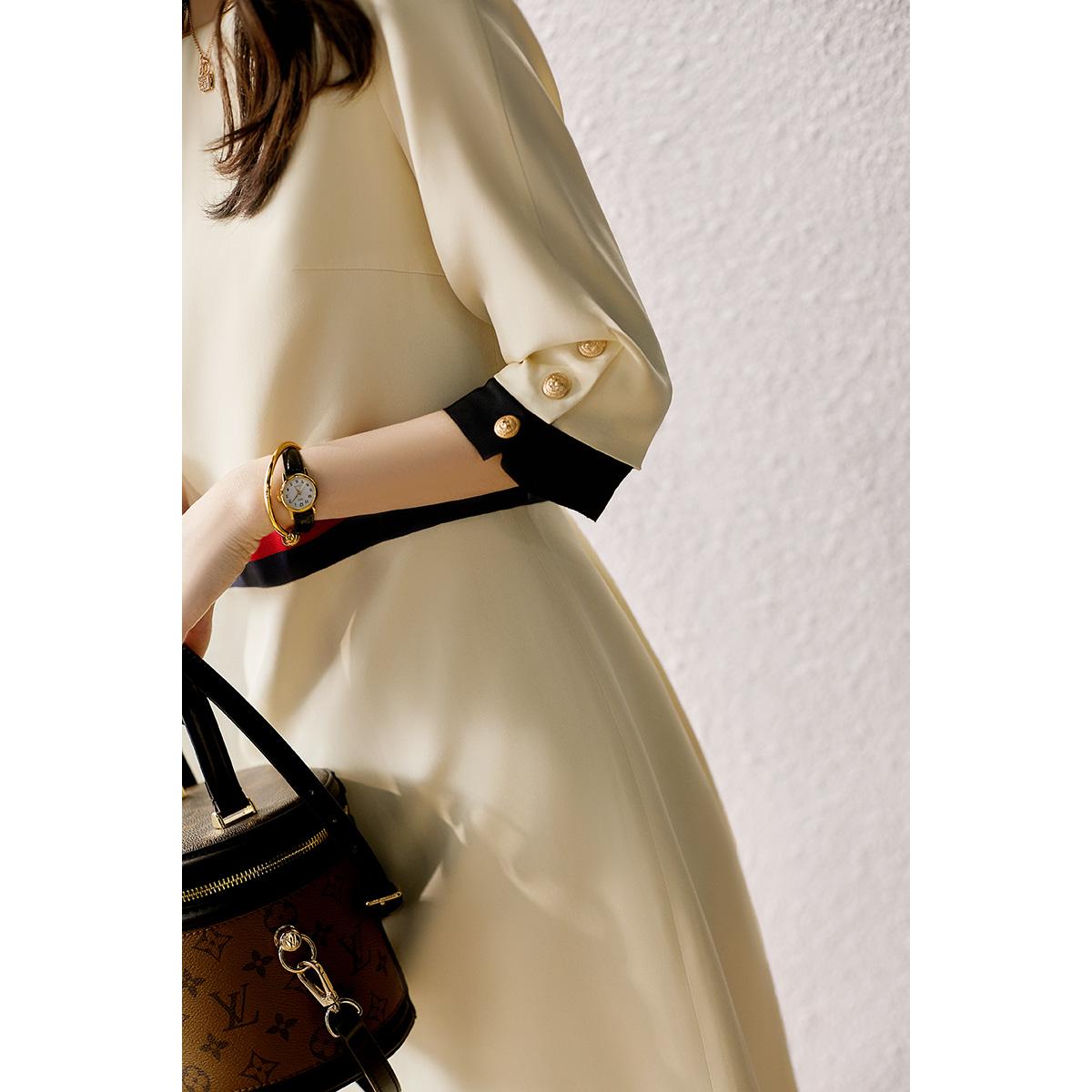 の[SQ115528MG]高性價比大氣優雅30姆米重磅 蠶絲定制織帶連衣裙