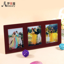Long three-in-one ice crystal red frame Crystal wedding photo production of glass crystal prints photo frame