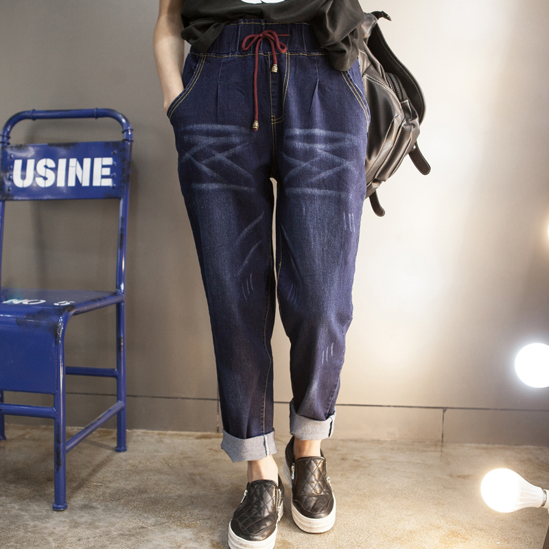 Fat sister autumn 2017 new women's Korean large code Jeans Girl 200 pounds of loose fat mm winter pants