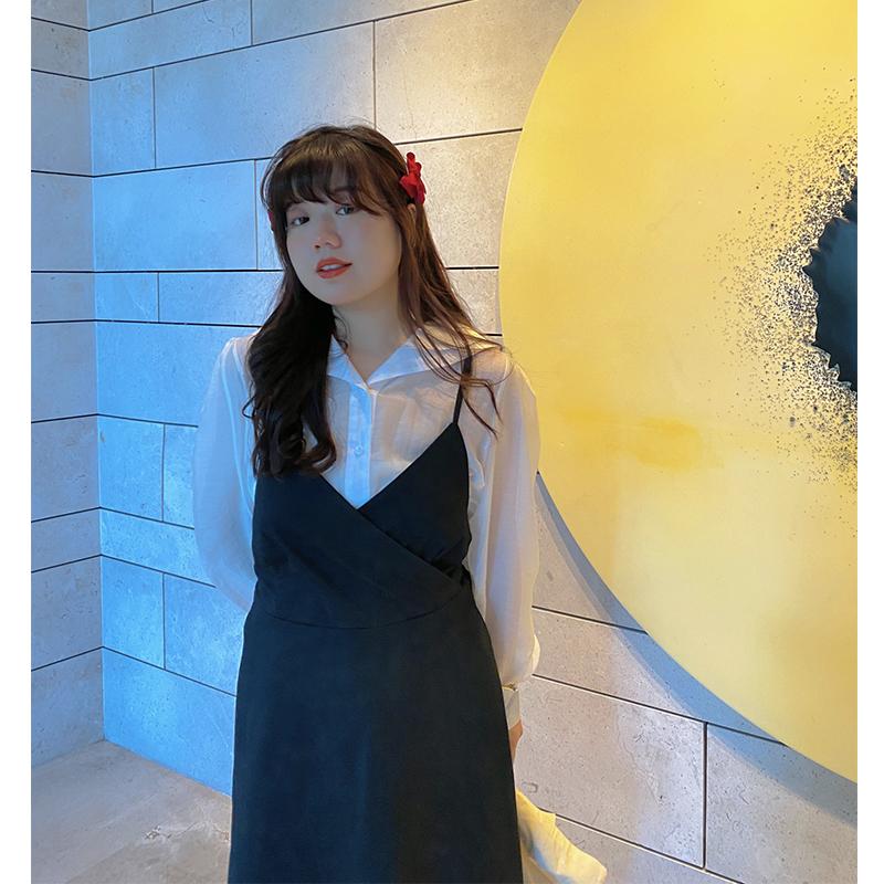 米米子(原朱米米)微胖胖mm大码女装白色显瘦连衣裙两件套套装女