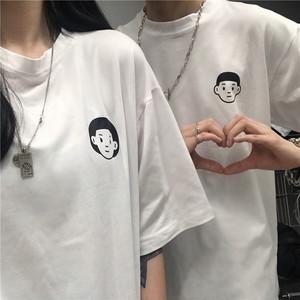 超火cec短袖女2020新款韩国ins趣味头像印花白色t恤情侣休闲上衣