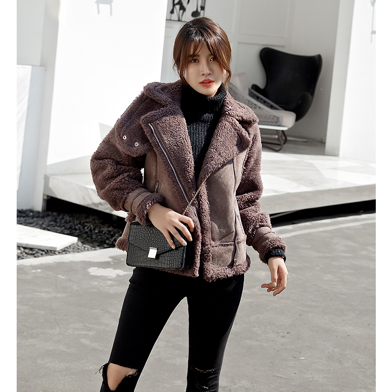 2018 winter chic new womens clothing Korean version thickened loose BF suede short lambskin coat womens winter
