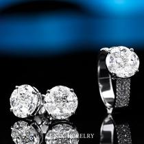 高级大台面钻戒18K白金镶嵌钻石耳钉戒指耳环女直播专拍INK珠宝