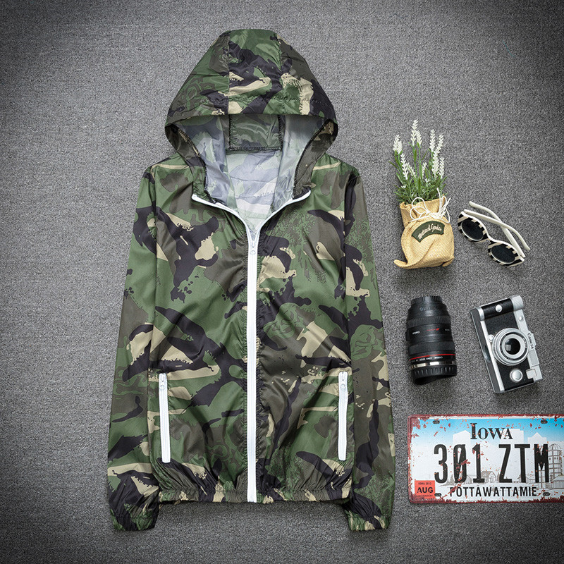 Summer outdoor sports coat camouflage sunscreen mens ultra thin breathable couple sunscreen womens windbreaker big trend