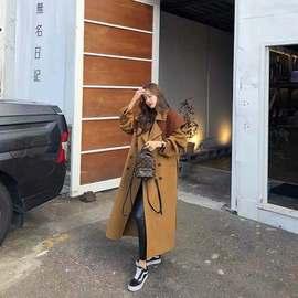 韩国东大门双面羊绒羊毛大衣女中长款19新款斗篷式双排扣毛呢外套
