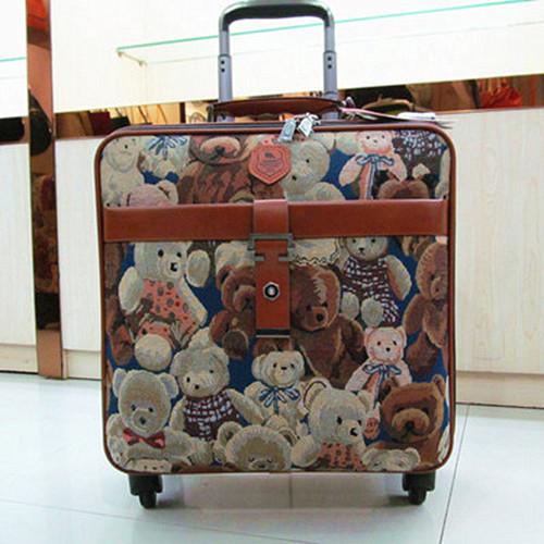 Bear Trolley Case womens suitcase 24 inch Korean retro light 16 password box 20 Oxford cloth travel case