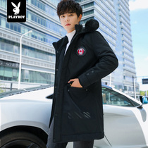 Playboy Cotton Man Youth winter cotton jacket thickening warm leisure Korean version hooded jacket mens cotton clothes