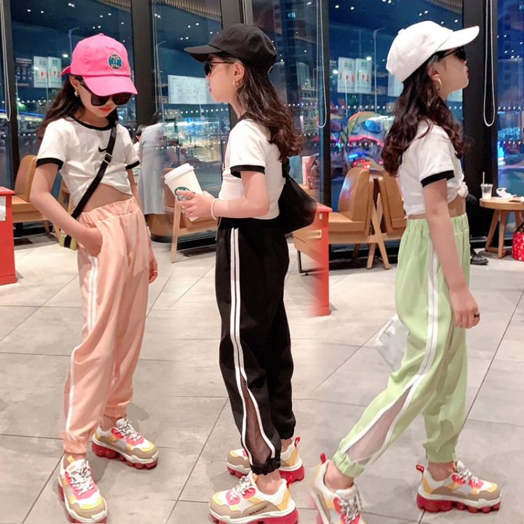 Famela net yarn pants chemical fiber 13-year-old middle waist real photo with model belt 12-year-old 140cm summer