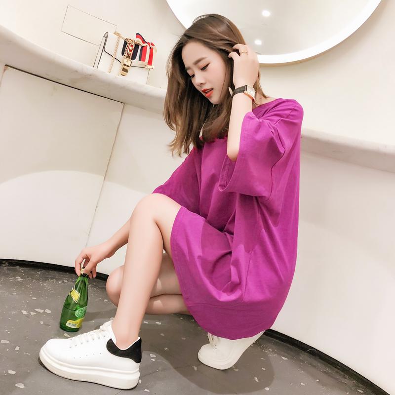 网红同款上衣bf风中长款下衣失踪大t恤裙女短袖紫色宽松韩版学生