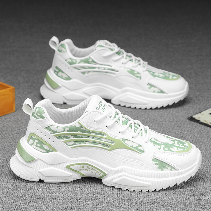 New printed cloth daddy shoes leisure sports 2021 summer new trend low top thick sole cold adhesive mens shoes