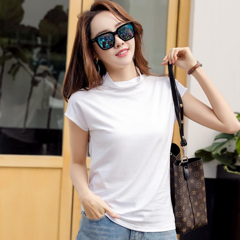 Loose neck T-shirt pure cotton half high collar top small cover sleeve Yoga T-shirt slim fit inner bottom shirt sports T-shirt