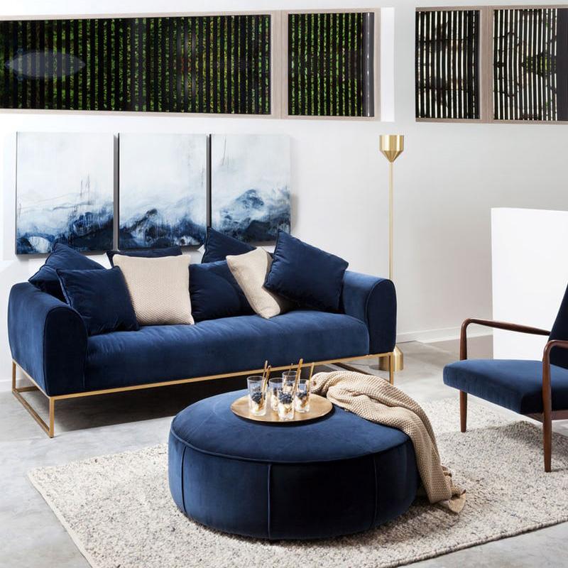 后现代轻奢布艺沙发客厅小户型丝绒三人位乳胶样版房沙发工业风
