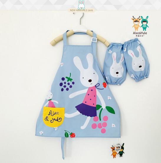 儿童反穿衣宝宝围裙防水卡通小童画画衣罩衣带套袖可爱饭兜小兔子