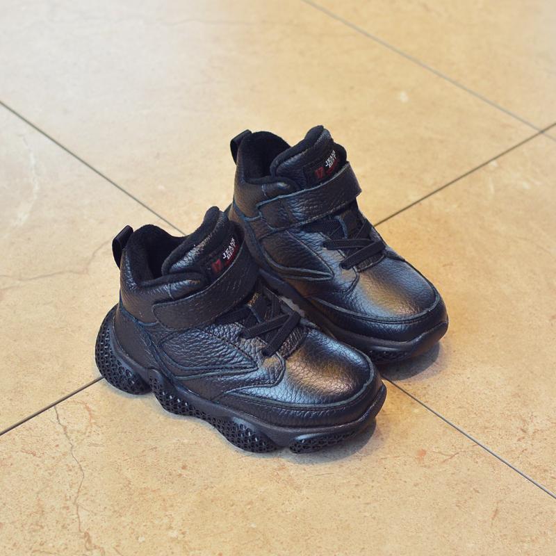 兒童二棉鞋男童鞋2018新款冬女童加絨運動鞋3-…
