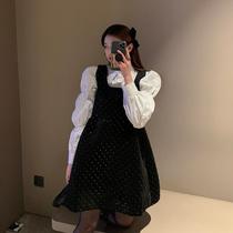 冬季新款胖MM法式时尚设计感显瘦套装大码女装宽松遮肚洋气连衣裙