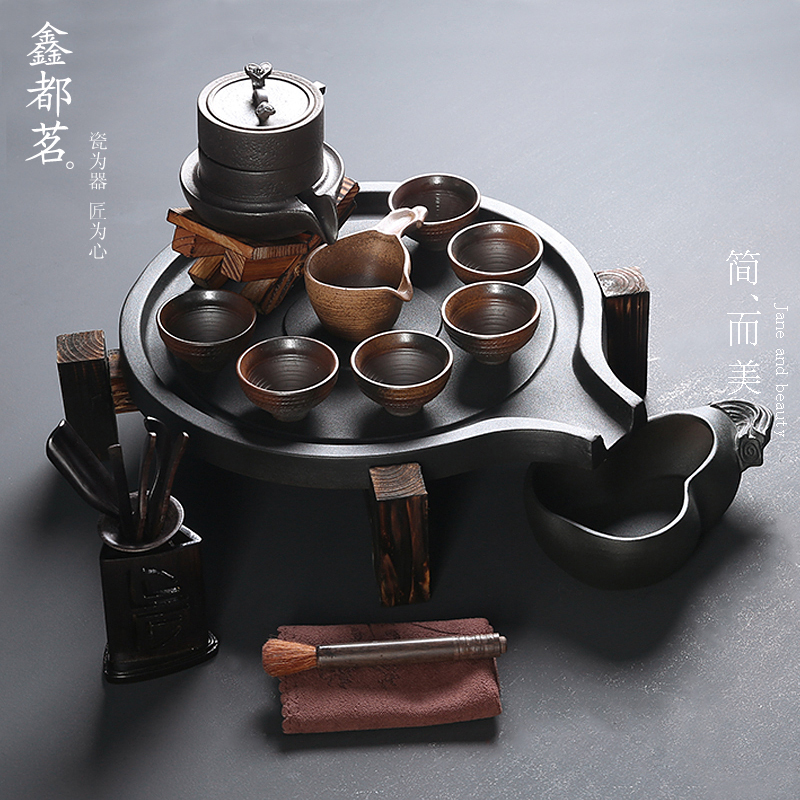 鑫都茗複古石磨半自動茶具套裝粗陶茶具茶盤整套功夫陶瓷茶具家用