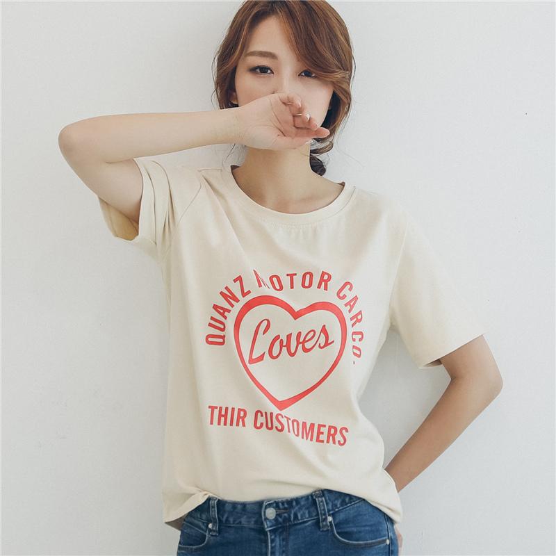 夏季新款韩版圆领短袖T恤女宽松纯白色简约英文印花常规上衣女热销0件手慢无