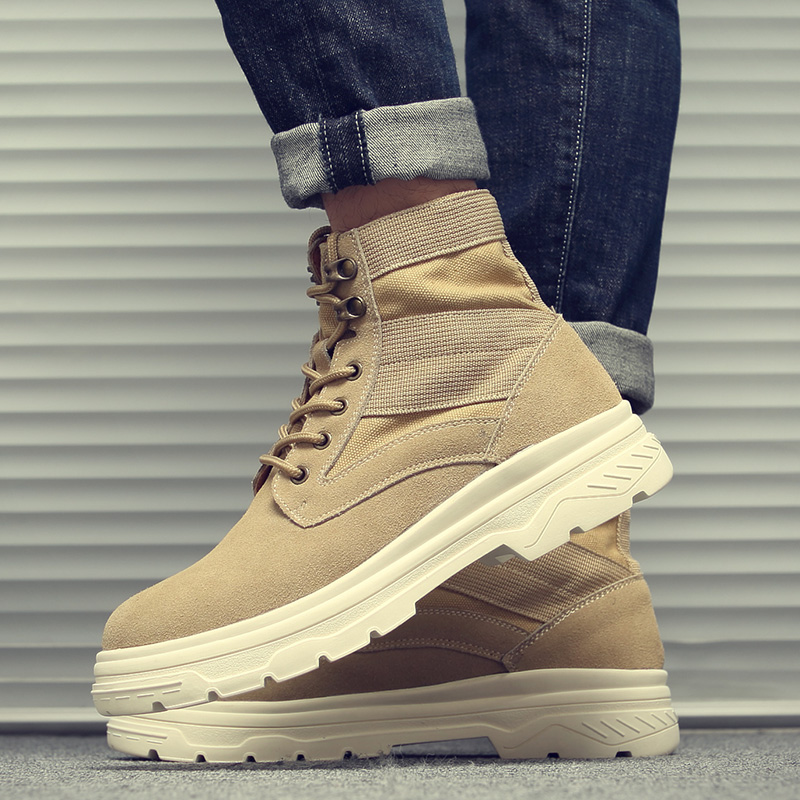 Winter 2018 new mens shoes Martin boots mens leather fashion desert boots high top lace up versatile tooling boots