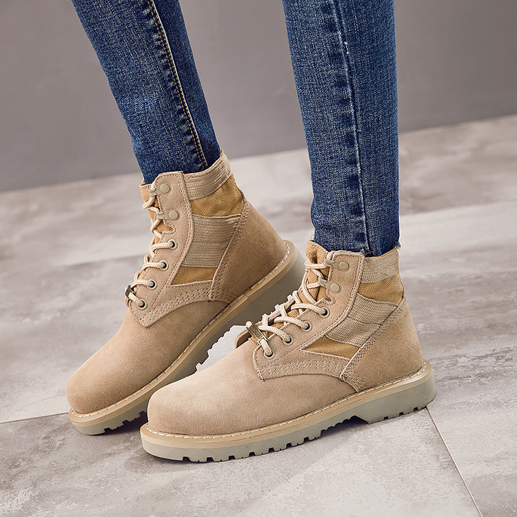 Military boots leather Martin boots womens boots desert boots mens help work clothes shoes Martin boots outdoor lovers military shoes mens supply