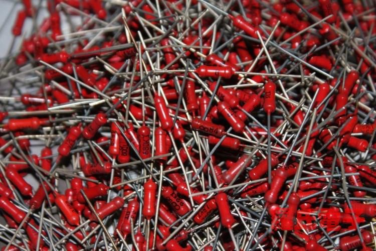 大红袍金属膜老电阻  0.5W元件包  约450支  全铜脚 铜镀银