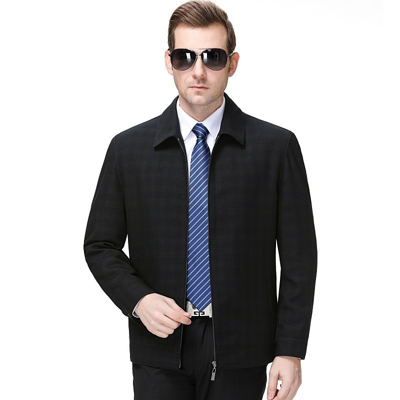 A new spring and autumn mens jacket with middle-aged Lapel Wool Plaid fashion casual jacket