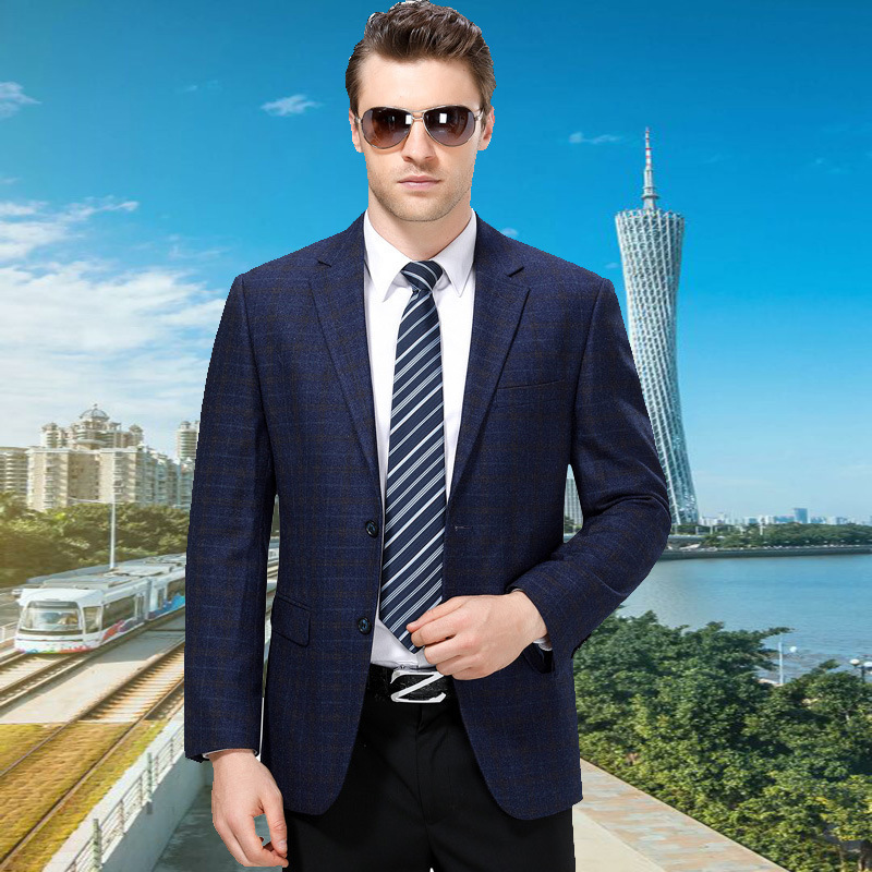 Autumn and winter mens suit fashion business wool single suit boutique plaid coat one hair substitute one double breasted