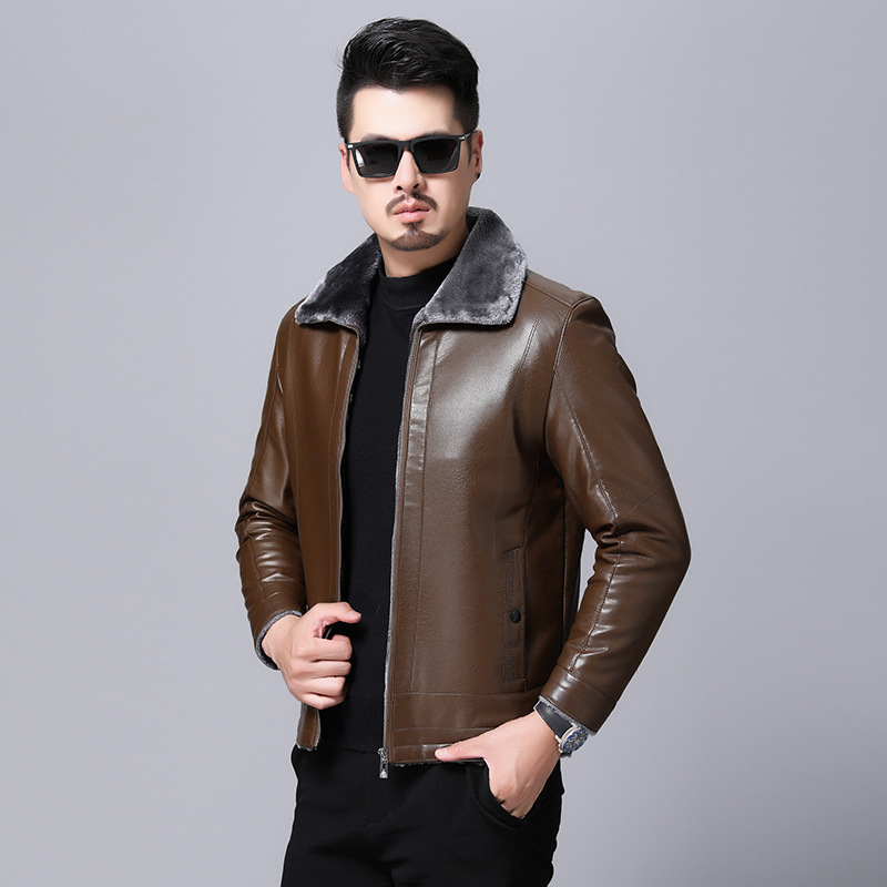 Winter mens fur coat thickened Plush coat fur one jacket for middle-aged and old men