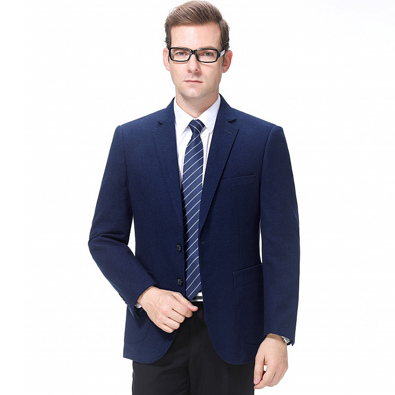 One hair generation mens suit autumn and winter fashion casual middle-aged wool single suit solid color coat one grain double breasted