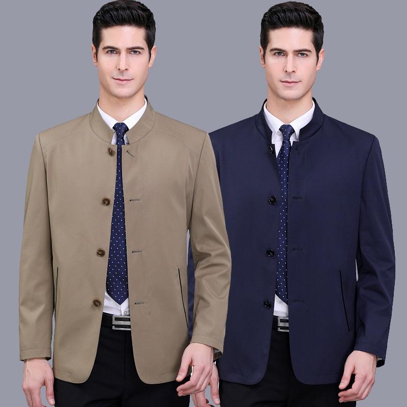 夹克男春秋中年男装上衣立领商务休闲男士纯色爸爸装外套代发长袖