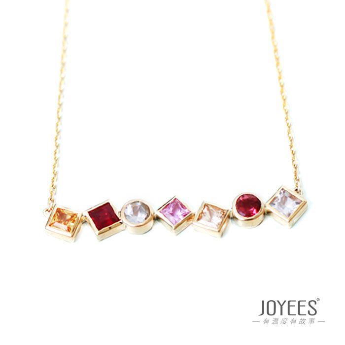 Joyees flower path 18K Gold tourmaline Ruby Sapphire Pendant Necklace creative design female clavicle chain