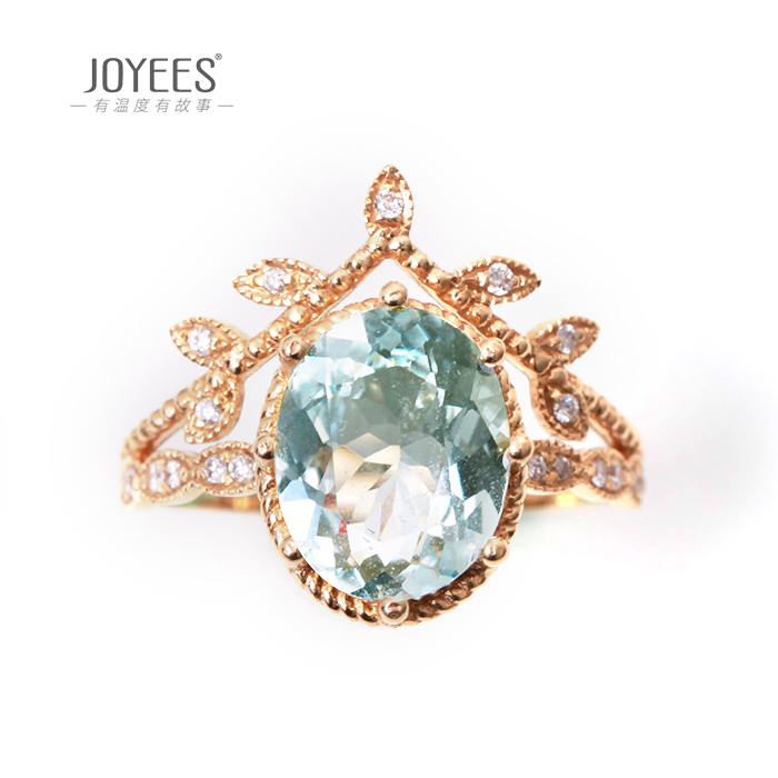 Joyees summer dream 18K Gold Aquamarine diamond ring new design gift gift female jewelry