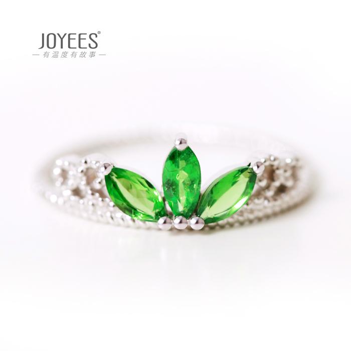 Joyees Xiayang 18K White Gold Sapphire Ring crown creative design female ring