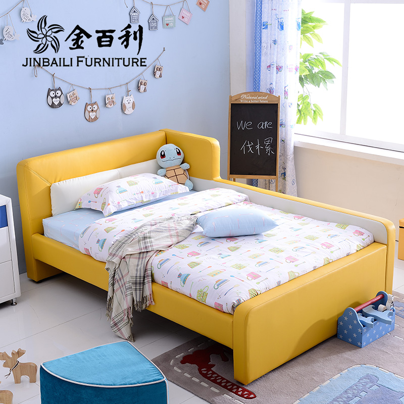 Kimberly childrens bed boy cartoon 1.2m with guardrail simple small leather bed young girl modern 1.5 bed