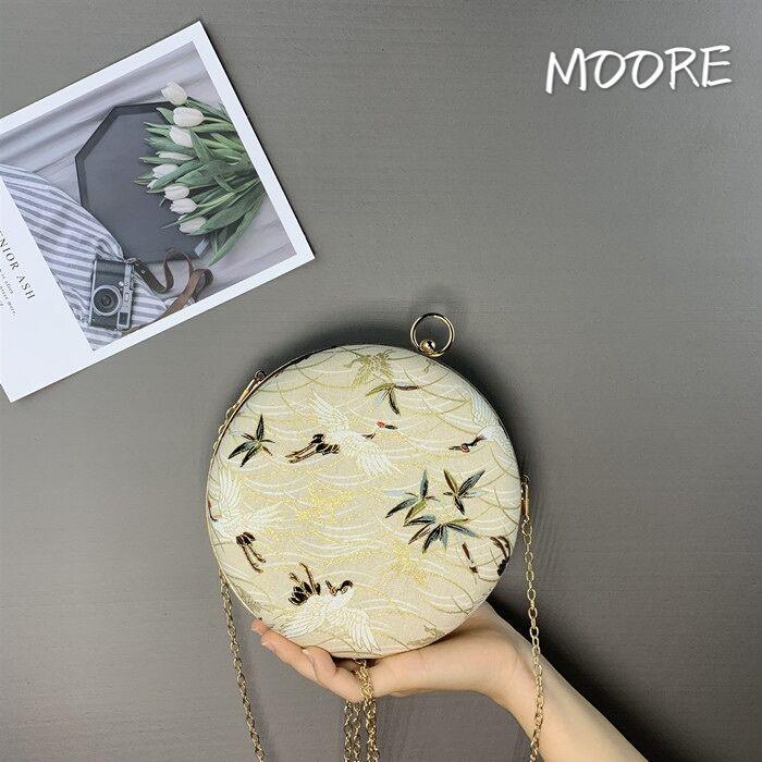 2019 new small round Bag Handmade Hanfu antique bag embroidery dinner dress cheongsam hand holding fashion bag