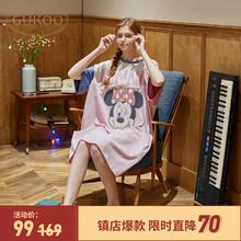 睡衣睡裙女夏t恤裙夏季薄款纯棉外穿睡裙可爱网红爆款睡裙