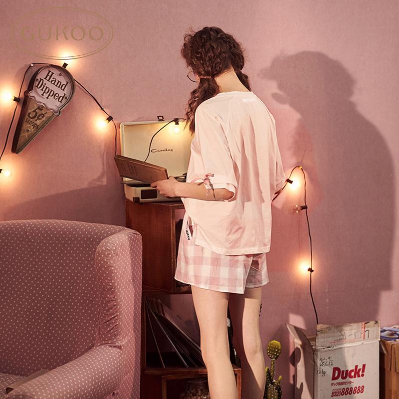 Gukoo/果壳正版HelloKitty睡衣女春夏可爱套装全棉可外穿家居