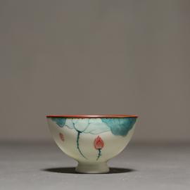 手绘荷花茶杯 陶瓷喝茶品茗杯主人杯单杯功夫茶具小茶杯