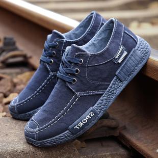 秋季帆布鞋男士休闲鞋男韩版布鞋男鞋运动板鞋透气工作鞋潮流鞋子品牌