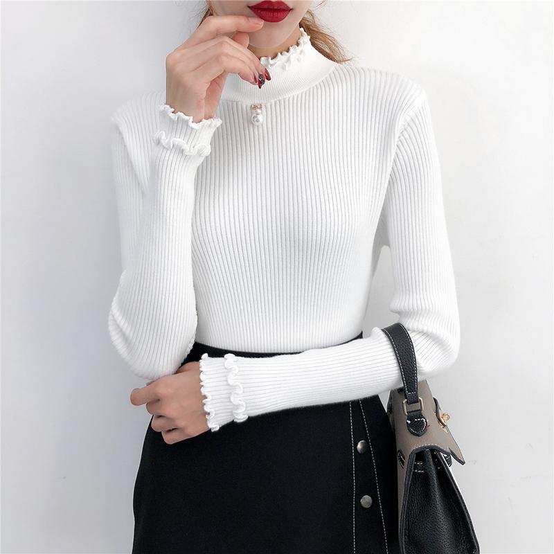 针织衫女长袖秋冬装荷叶领针织衫套头钉珠毛衣修身百搭打底衫短款