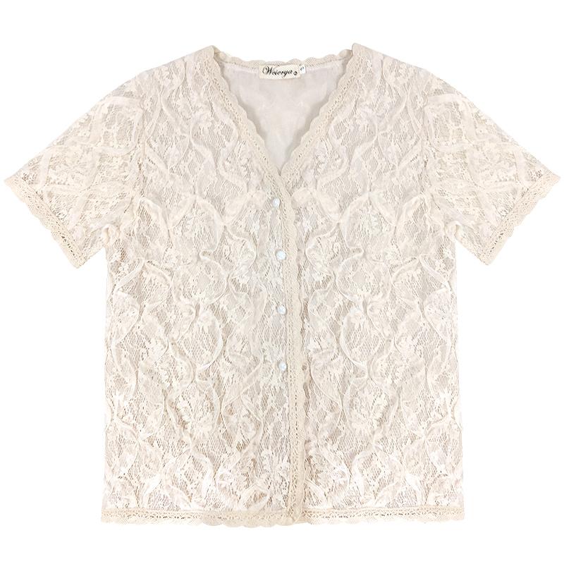 女装2019春夏新款重工蕾丝衫网纱时尚洋气打底衫女气质v领上衣潮