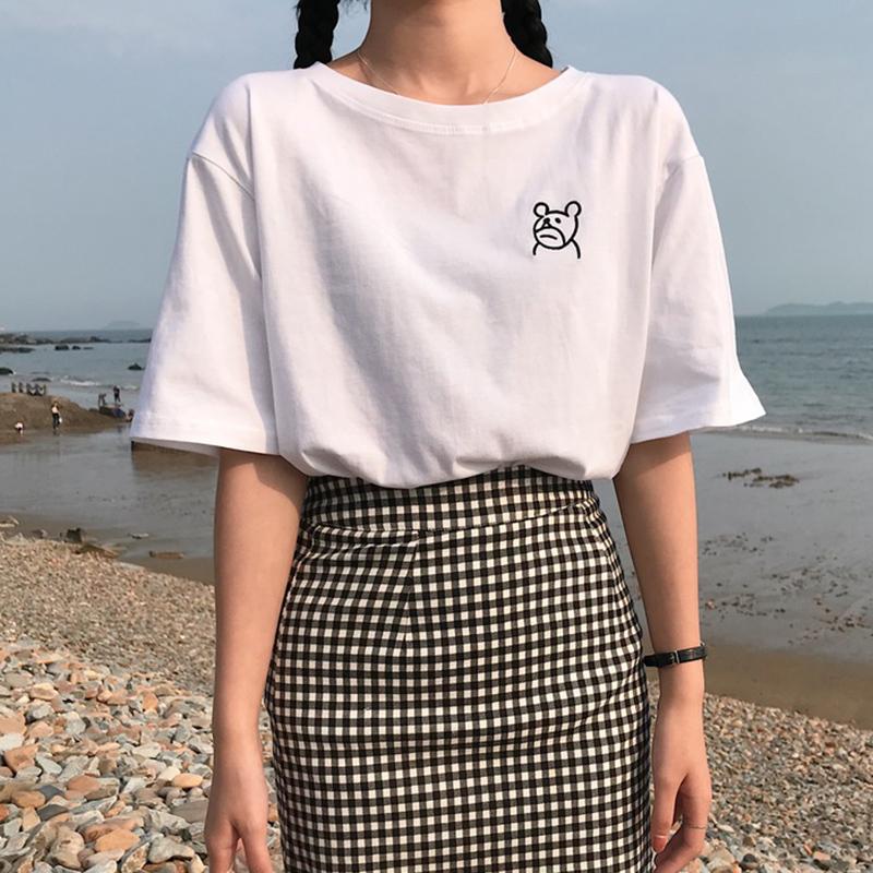 夏季新款女装刺绣宽松显瘦纯色学生百搭圆领短袖t恤打底衫上衣女