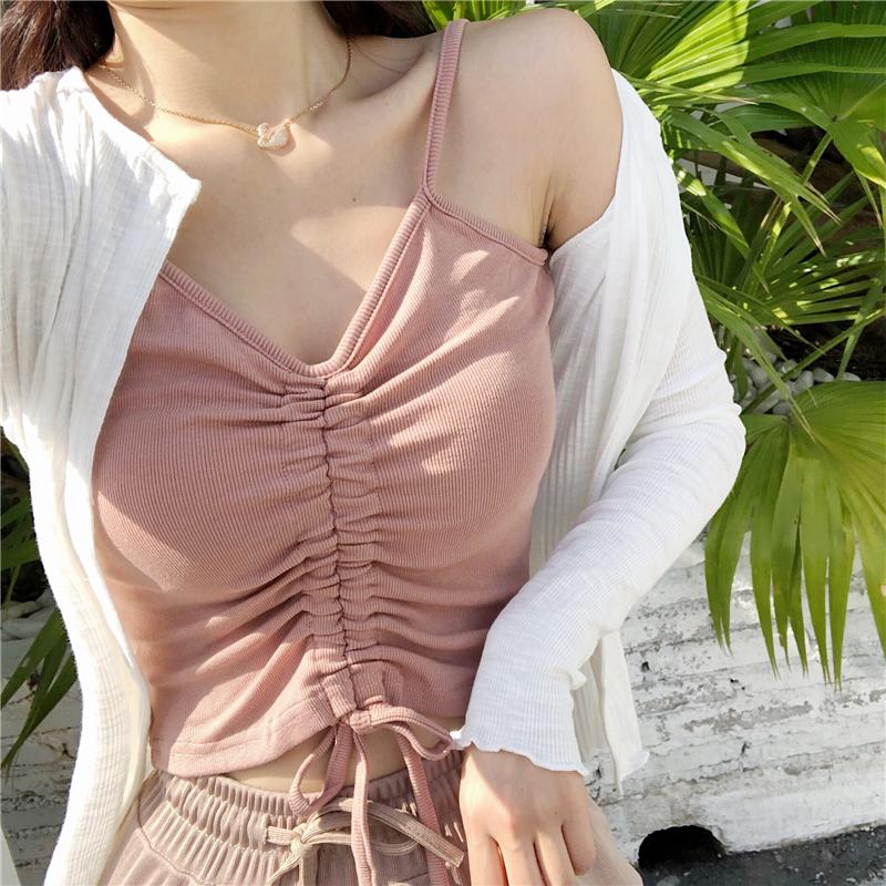 夏季女装新款韩版性感抽绳V领露脐装上衣多色外穿螺纹吊带小背心