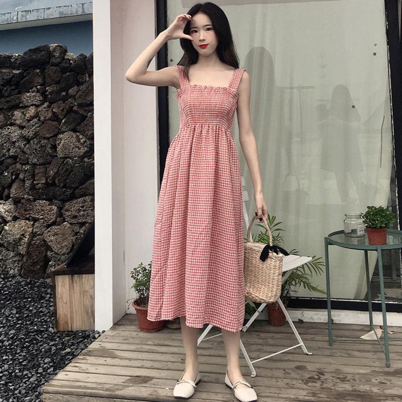 夏季新款女装中长款抹胸格子高腰修身显瘦学生无袖打底连衣裙长裙