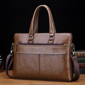 巨森袋鼠手提包真皮手拿橫款男士包商務牛皮單肩斜挎包休閑公文包